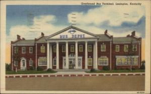 Lexington KY Greyhound Bus Terminal Linen Postcard
