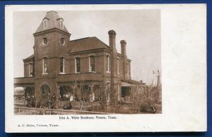 Vernon Texas John A White Residence old undivided back postcard