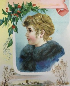 Victorian Christmas Trade Card Cute Pretty Girl Lion Coffee Woolson Spice Large