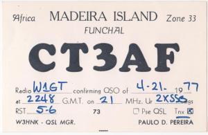 QSL, CT3AF, Madeira, Funchal, 1977