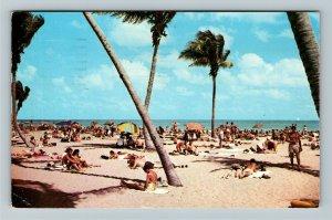 FL- Florida, Tropical Beach, Sun Bathers, Ocean Views, Chrome c1955Postcard