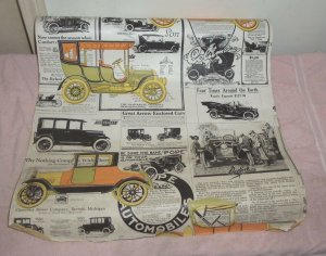 Vintage By the Yard Wall Paper Covering Antique Car Advertisement POPE CHEVY