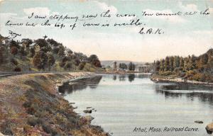 Athol Massachusetts~Railroad Tracks Along Millers River~Houses on Hillside~1907