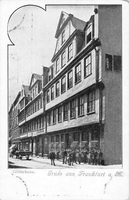 Frankfurt Hesse Germany Gruss aus scenic street view antique pc Z17891