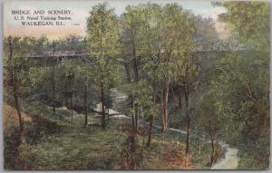 Waukegan, ILL., Bridge & Scenery, U.S, Naval Training Station - 1908