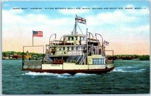 Sault Ste. Marie, Michigan Postcard Ferry Boat Agoming Kropp Linen c1940s