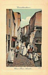 CONSTATINE ALGERIA AFRICA~UNE RUE ARABE~TINTED LL PHOTO POSTCARD