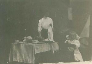 Gibson Girl Preparing Meal, Girl with Big Bow, Table Setting, RPPC
