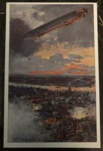 Original Zeppelin In Flight Picture Postcard Mint German Air Fleet At War