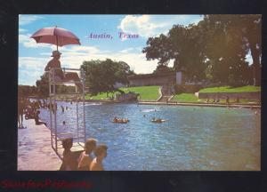 AUSTIN TEXAS BARTON SPRINGS SWIMMING POOL ZILKER PARK VINTAGE POSTCARD