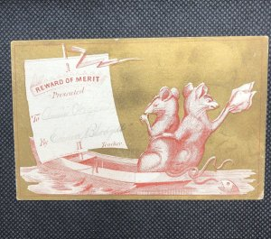 REWARD OF MERIT CARD - CHARMING MOUSE RAT USES HIS TAIL BOAT  SHIP