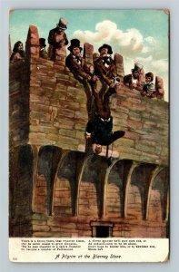 Ireland, UK-United Kingdom, Pilgrim At Blarney Stone, Vintage c1909 Postcard