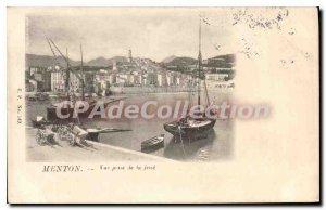 Old Postcard Menton View taken De La Jetee