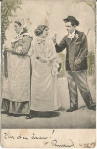 Boy presenting a rose to girl behind annoyed mother's back Vintage Postcard