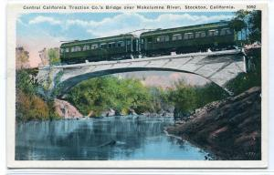 Central California Traction Electric Train River Bridge Stockton CA postcard