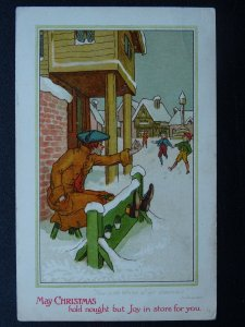 Man in Stocks MAY CHRISTMAS Hold Nought But Joy in Store For You - Old Postcard