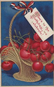BIRTHDAY, 1900-10s; Gold Basket of cherrys, George Washington