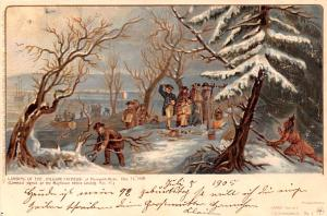 Colonial Post Card Old Vintage Antique Postcard Landing of the Pilgrim Father...