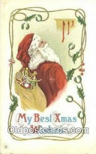 Santa Claus Postcard, Chirstmas Post Card Old Vintage Antique Carte, Postal P...