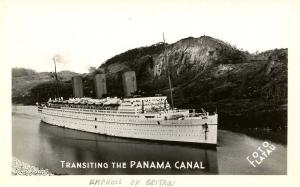 Panama - Empress of Britain transiting the Canal  *RPPC