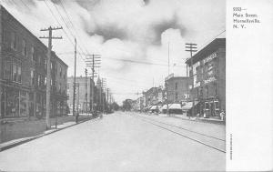 Hornellsville New York~Main Street~Business School~Star~1906 B&W Postcard