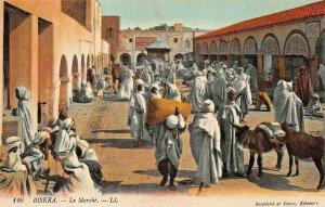BISKRA ALGERIA AFRICA~LE MARCHE~TINTED PHOTO POSTCARD