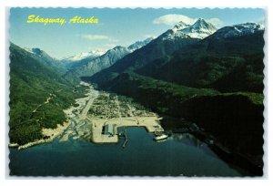 Postcard AK Skagway Alaska busy port aerial AJ9