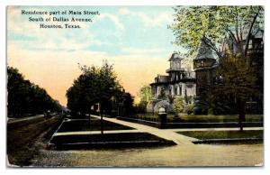 1911 Main Street Homes, South of Dallas Avenue, Houston, TX Postcard