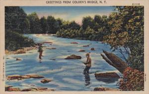 New York Greetings From Golden's Bridge 1952 Curteich