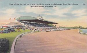 Florida Hallendal View Of First Turn With Crowds In Stands At Gulfstream Park...