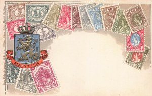 Netherlands Stamps on Early Postcard, Unused, Published by Ottmar Zieher