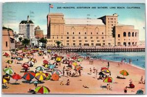 Long Beach California Beach Goers Bathers and Municipal Auditorium