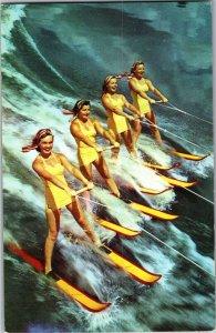 Four Girls Water Skiing, Florida Vintage Postcard T15