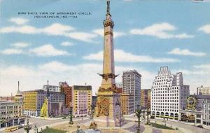 Bird's eye view of Monument Circle, Indianapolis, Indiana, 30-40s