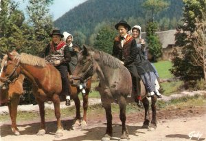 Folklore of France. Groupe Folklorique. On horses Modern French PC. Continent