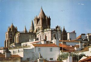Portugal Evora The Cathedral Overlooking the Town Panorama Postcard