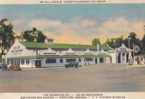 KENTLAND, Indiana, 1938; The Interstate Co. - Nu-Joy Restaurant, Greyhound Bu...