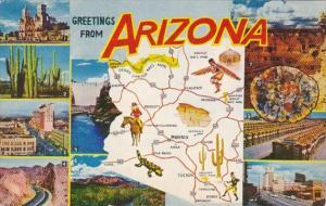 Greetings From Arizona With Map 1961