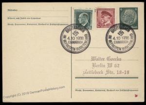 3rd Reich Germany 1938 Breitenbach Sudetenland Annexation Provisional Cove 69842
