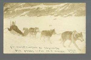 Chicago ILLINOIS RPc1910 CROSS COUNTRY TRAVELER Dog Sled Ft. Chipewyan AB CANADA