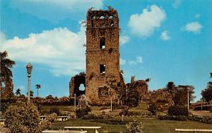 Panama Old Vintage Antique Post Card Ruins of Cathedral Old Panama Tape on back