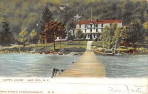 Lake George New York Hotel Uncas Waterfront Antique Postcard K49613