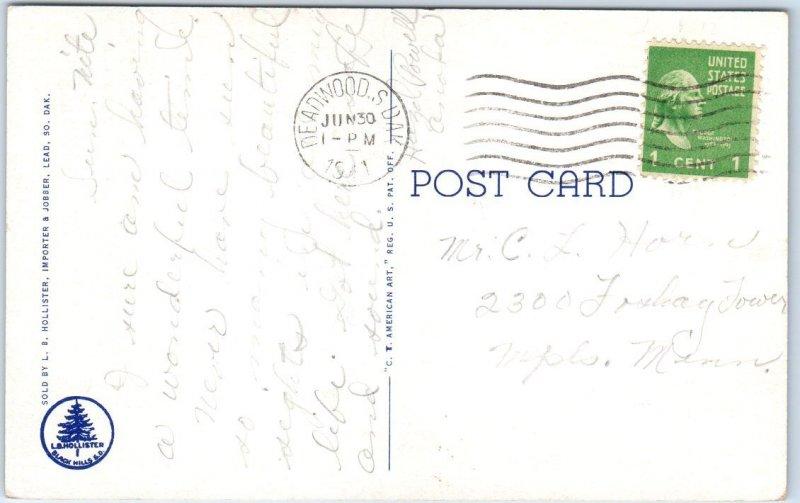 1941 MOUNT RUSHMORE Postcard Badly-Drawn Artist's View Black Hills SD Linen