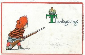 VINTAGE POSTCARD: THANKS GIVING - VERY CUTE!