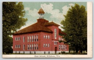 Hillsboro Wisconsin~High School~Cupola Bell Tower~c1910 Postcard