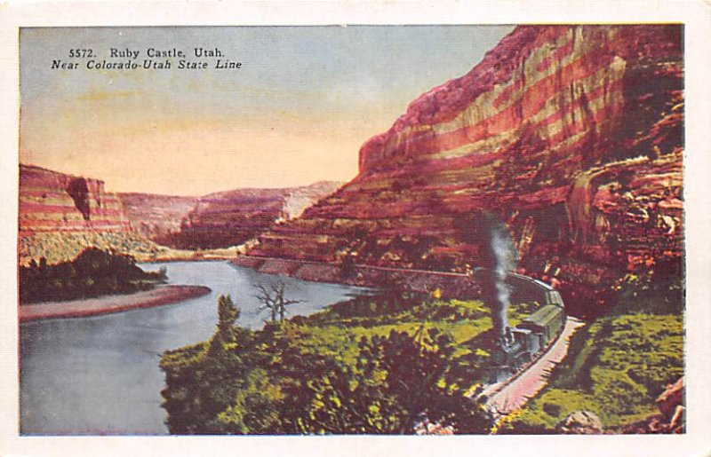Utah Train Postcard Ruby Castle Utah, USA Unused