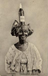 suriname, Coloured Woman carries Bottle of Wine on her Head (1910s) Postcard