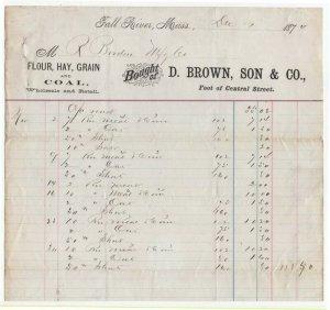 1874 Billhead, D. BROWN, SON & CO., Flour Hay, Grain & Coal, Fall River, MA