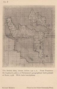The British Isles 140 AD Map Drawn in Rome Latin Antique Postcard