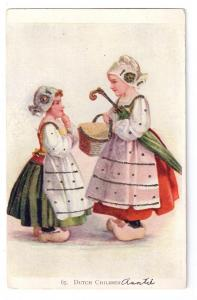 Dutch Children Glitter National Art Co ca 1907 Postcard